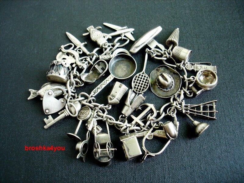 Браслет чармы серебро