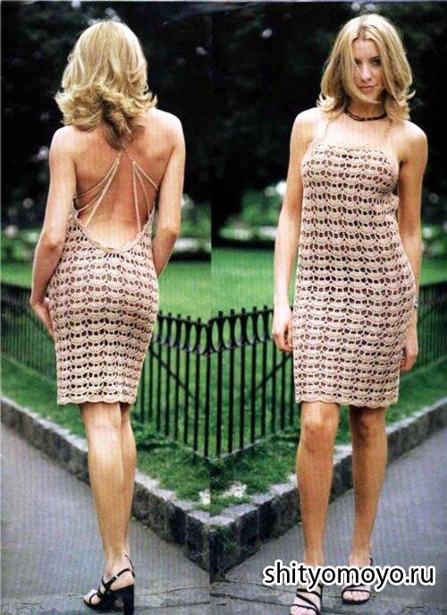 Бежевое летнее платье связано