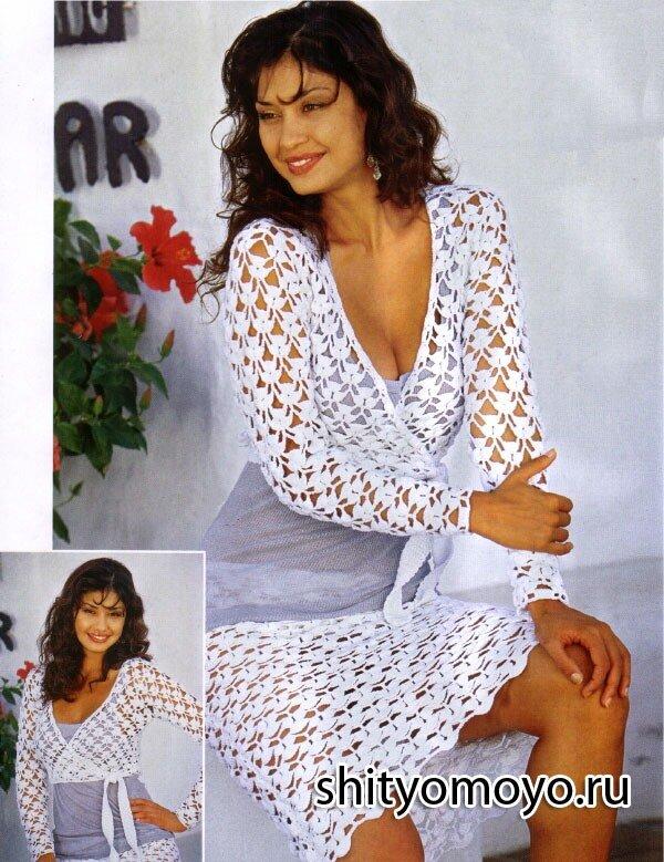 b92cf75bf56 Бесплатные модели и схемы вязания  белая блузка с запахом крючком ...