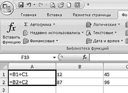 Рис. 4.6. Ячейки с отображением формул