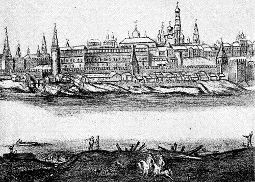 Рисунок 50. Берега реки Москвы у Кремля в начале XVIII века.