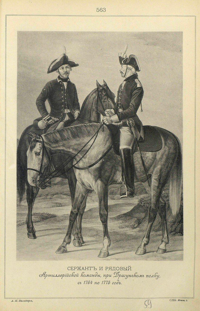 563. СЕРЖАНТ и РЯДОВОЙ Артиллерийской команды, при Драгунском полку, с 1764 по 1775 год.