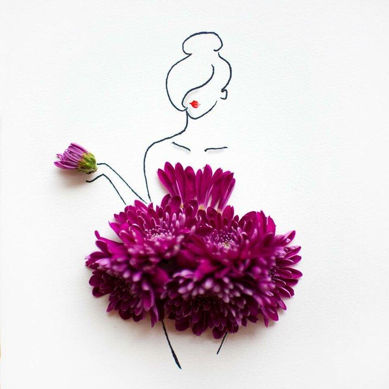 Рисунки девушки с живыми цветами