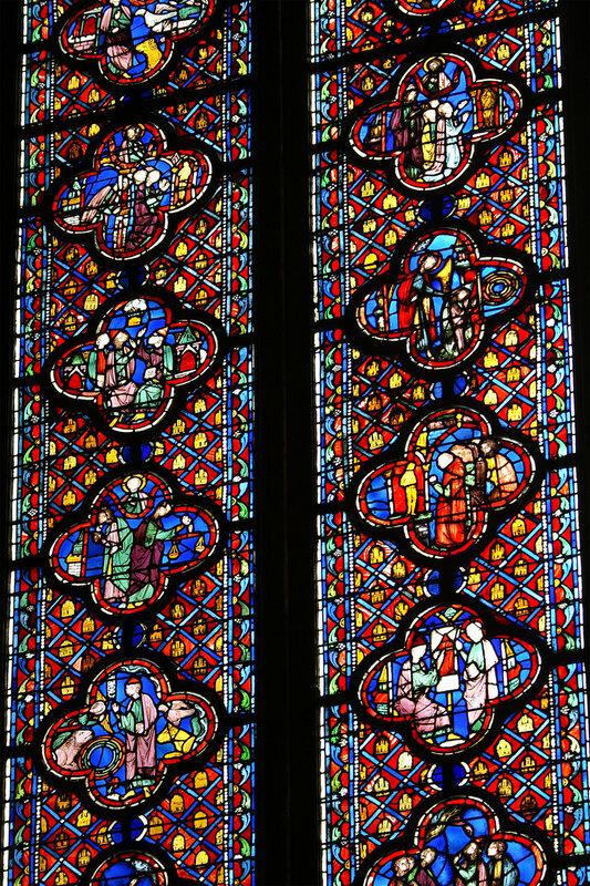 Sainte Chapelle. Details Vitrail Mur Sud.