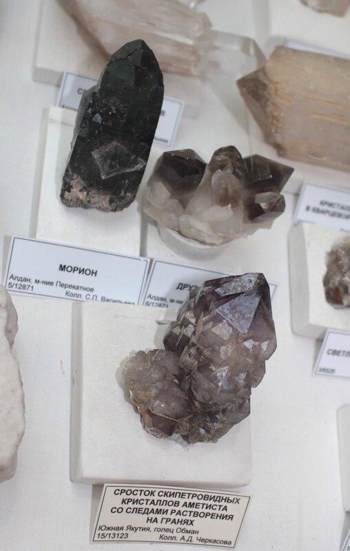 Морион; друза мориона; сросток скипетровидных кристаллов аметиста со следами растворения на гранях