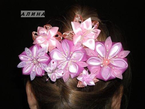 Поделка, изделие, Украшение Цумами Канзаши: Цветы из лент (канзаши...