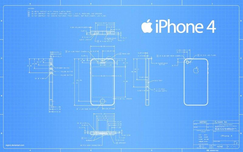 Схема чертеж Айфона 4 / The scheme design iPhone 4.
