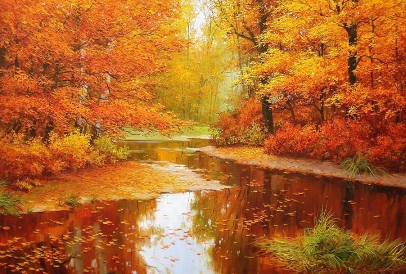 Разбросала  Осень  краски щедро, приступая к колдовству. Олег Щербаков
