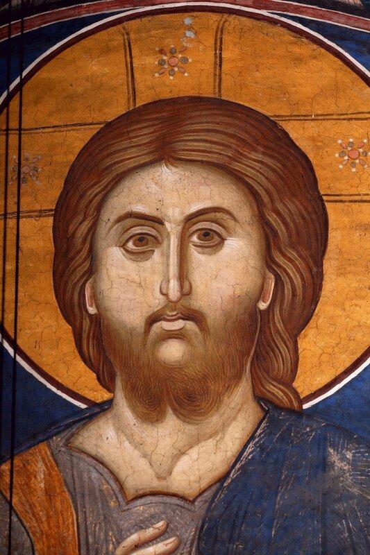 Лик Спасителя. Фрагмент фрески монастыря Высокие Дечаны, Косово, Сербия. Около 1350 года.