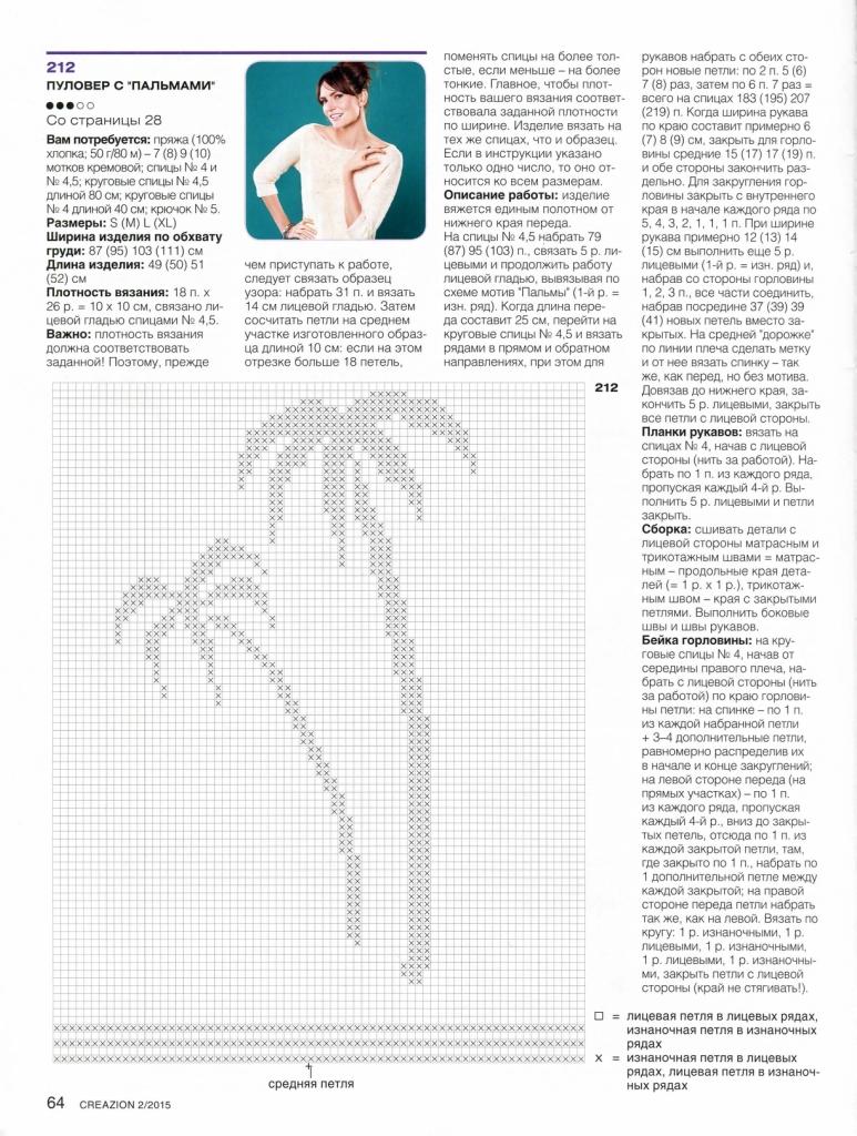 Схема джемпера с пальмой