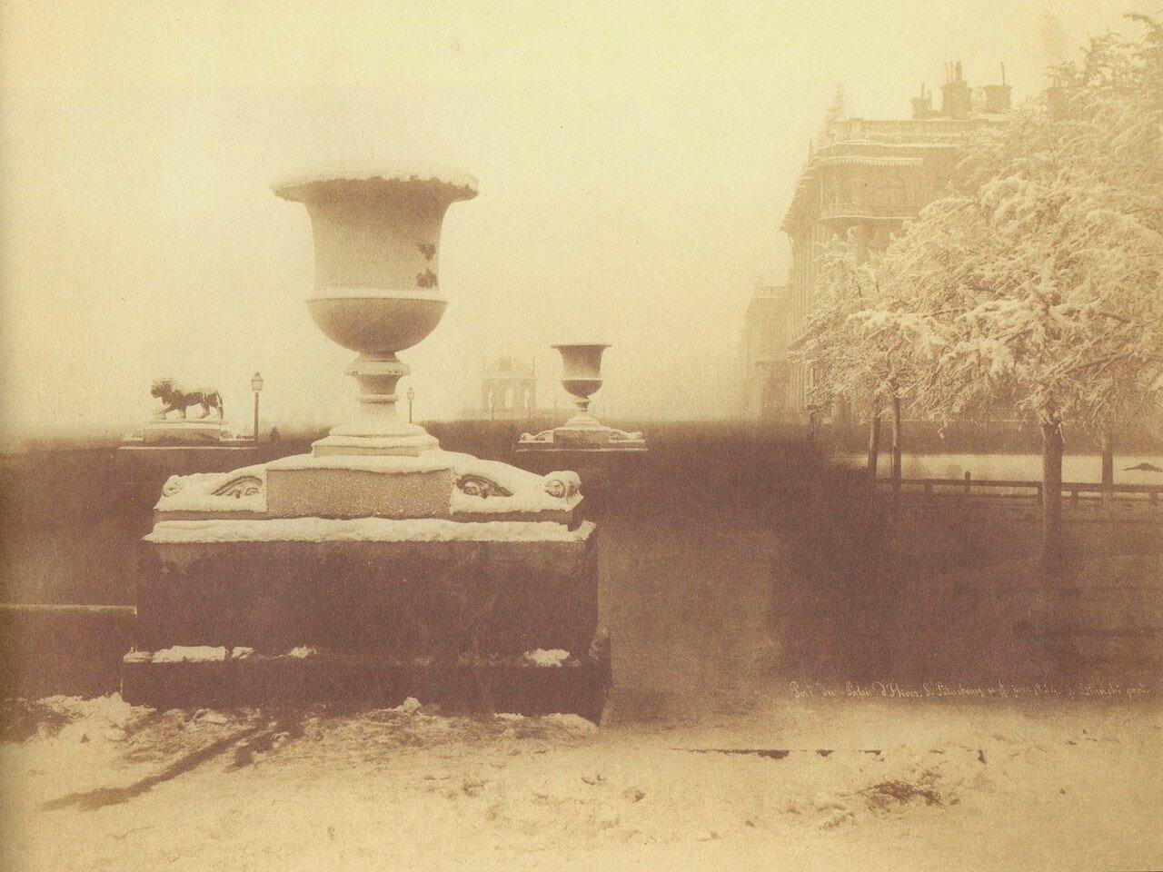 Дворцовая пристань со львами у восточного павильона Адмиралтейства. 1854