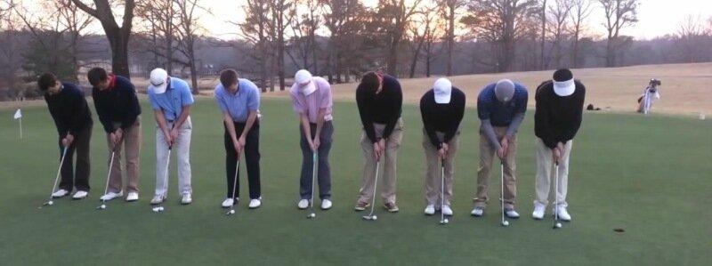 Рекорд в гольфе: девять мячей в одну лунку одновременно
