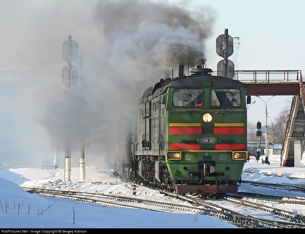 RZD 2TE10M 3329, Uzlovaya, Russia, February 22, 2009