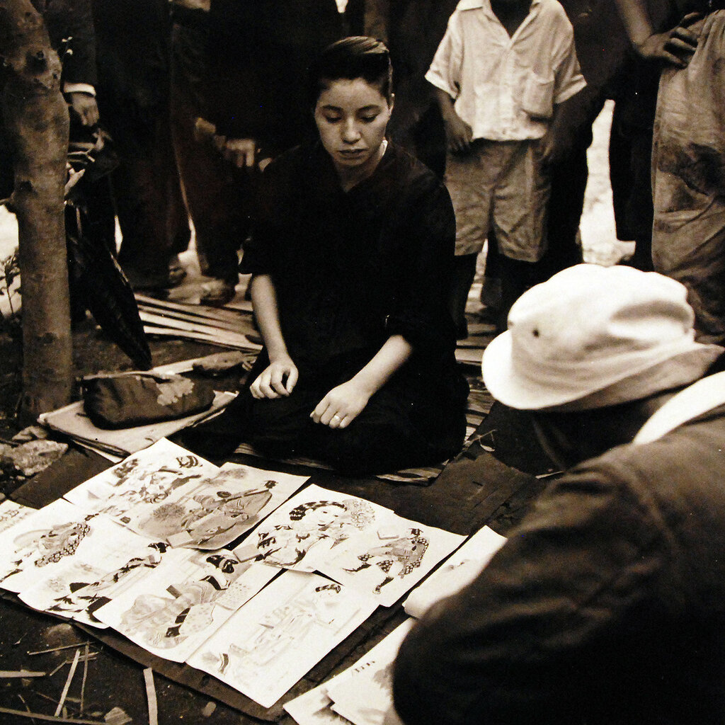 Japanese women sell wares (water colors) on the streets of Tokyo. September 1945