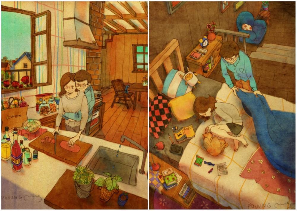 Корейская художница Puuung рисует очень милые итеплые иллюстрации, вкоторых воплощает простые, но