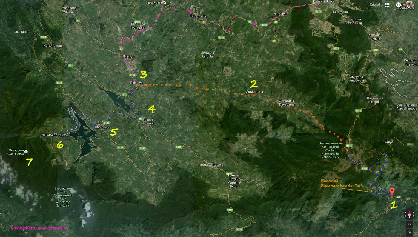 Карта со схемой, как добраться к Пику Адама самостоятельно. 1) Перекресток в деревне Kalupahana (GPS 6.766073, 80.850122); 2) ориентир для местных, когда спрашивать дорогу Agrapatana; 3) Dick Oya; 4) Norwood; 5) Maskeliya; 6) деревня Nallathanniya; 7) Adam's Peak;