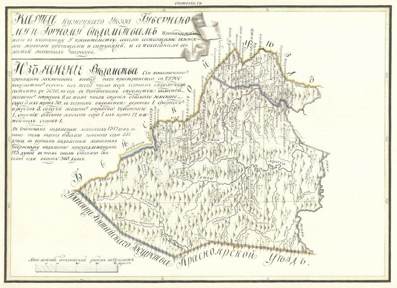 14. Карта Кузнецкаго Уезда земель Губернскаго Горнаго Ведомства