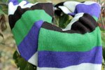 Длинный полосатый яркий Шарф Пеппи. Бело - коричнево - зелено - фиолетовый