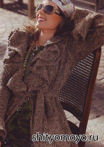 Пальто, связанное спицами. Описание и схемы бесплатно