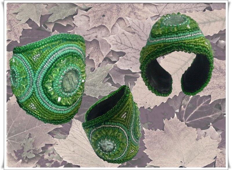 """№31. """"У любви глаза зелёные """" кабошон (Чехия) бисер №10, №8 (Чехия), кристалл<br /> Саровских; кожа, нить для бисерная, основа для браслета(метал)."""