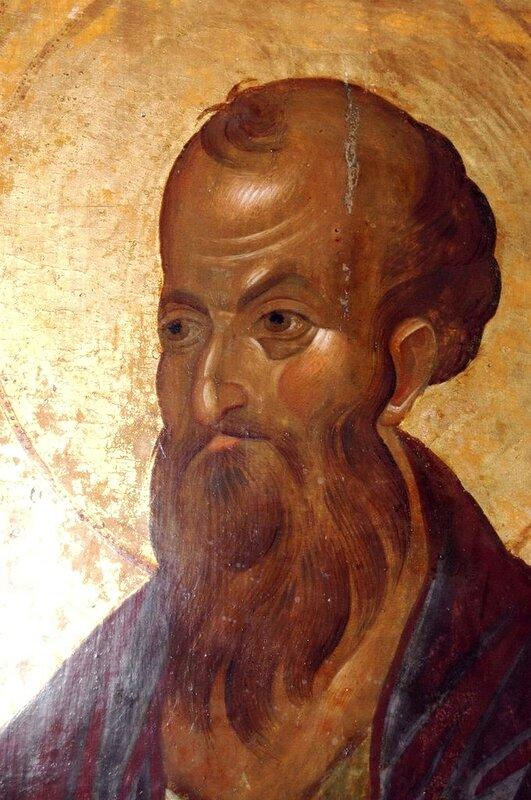 Святой Апостол Павел. Фрагмент иконы. Византия, 1360-е годы. Монастырь Хиландар на Святой Горе Афон.