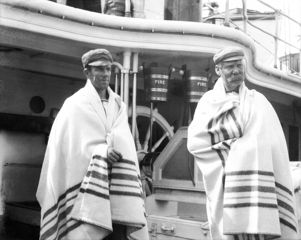 Two survivors from the 'Elingamite' onboard HMS 'Penguin'