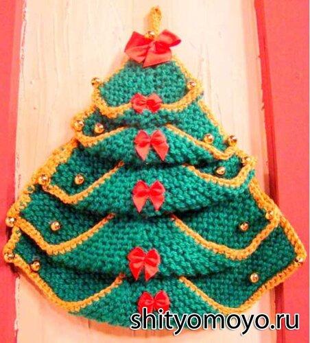 Поделки своими руками: новогодняя елочка, связанная спицами и крючком. Описание бесплатно