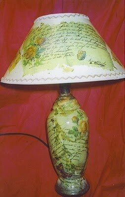 декупаж лампы