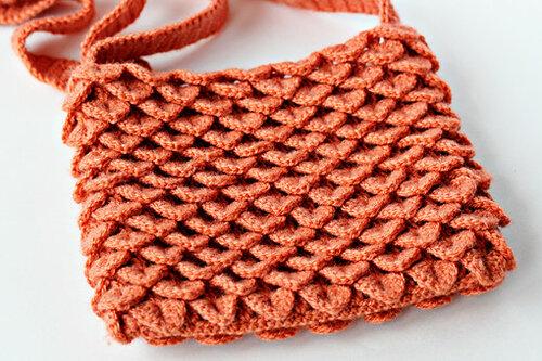 вязание крючком, мастер-класс, чешуйки, сумка