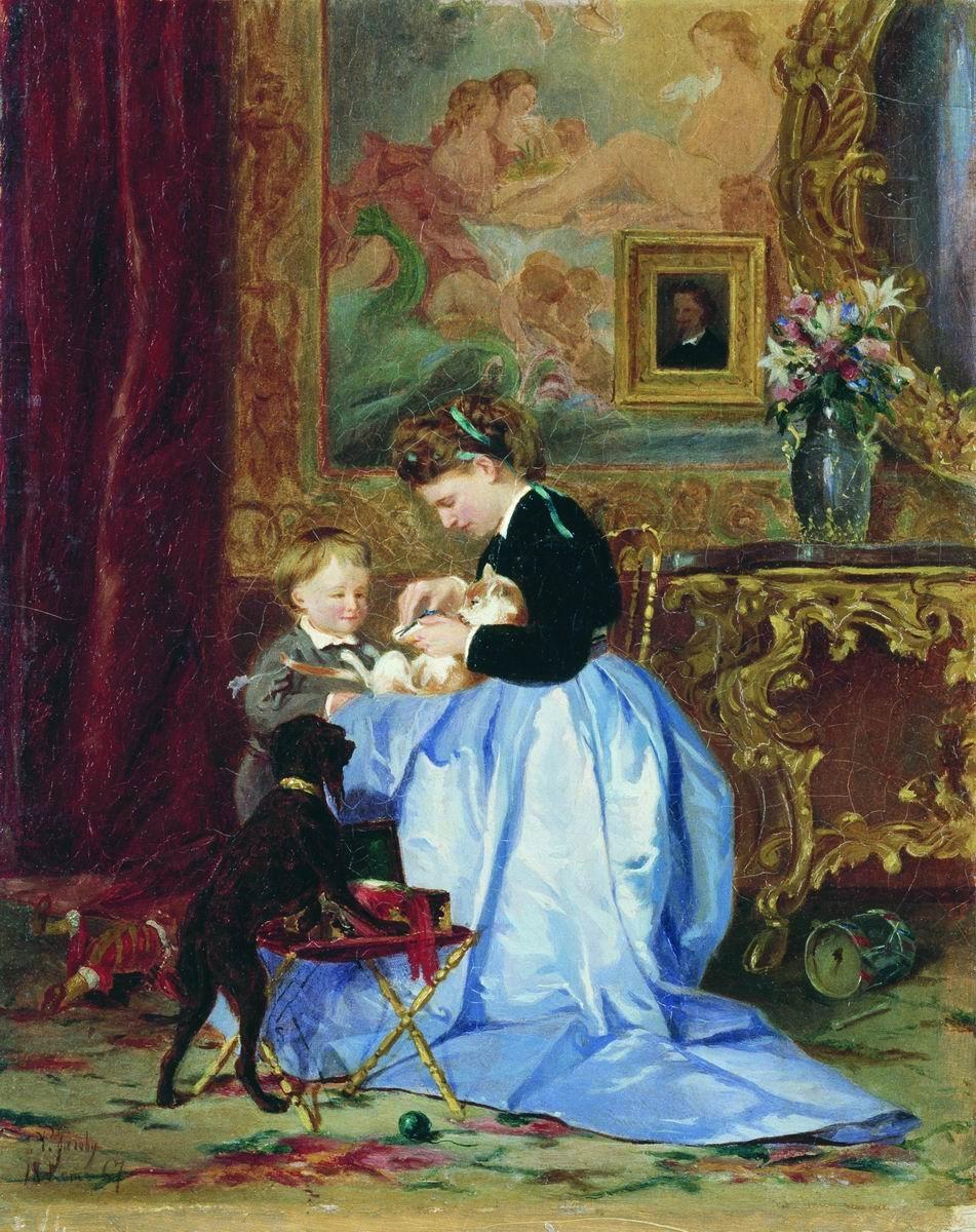 Семья художника 1867 холст, масло 19.5 х 14.5 Дальневосточный художественный музей, Хабаровск.jpg