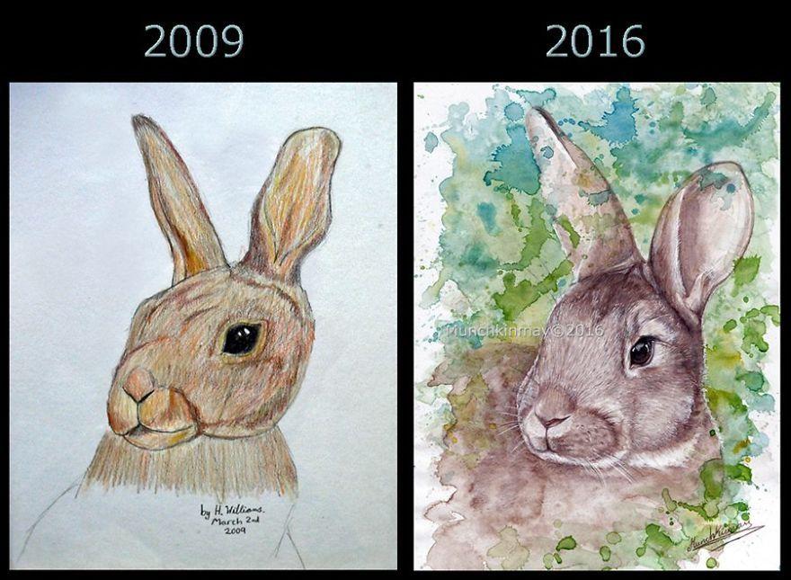 Совершенствуй. Примеры повторения свох рисунков спустя годы