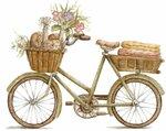 """Схема вышивки  """"Велосипед и цветы """" ."""