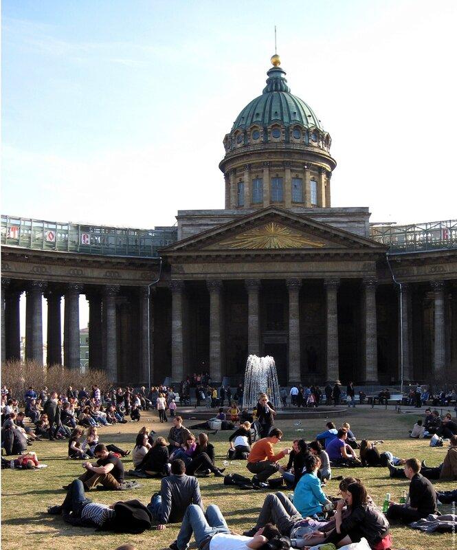 Санкт-Петербург, Казанский собор, Невский проспект, апрель, 2009, лето, фонтан