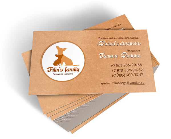 Логотип и визитные карточки для питомника чихуахуа Filin`s family