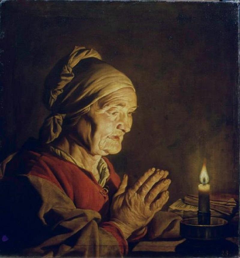 Старуха со свечой Матиас Стом  автор  1645  холст, масло  68х63 см.jpg