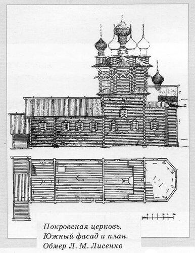 Чертежи Покровской церкви Кижского ансамбля