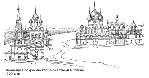 Звонница Воскресенского монастыря в Угличе, рисунок