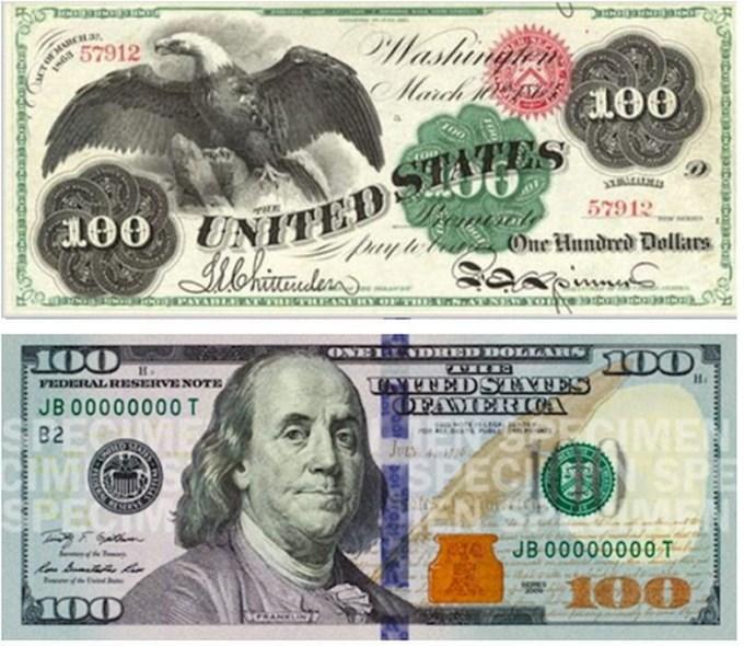 Как менялся дизайн 100-долларовых банкнот США в 19-21 веках