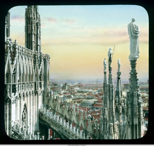 Milan. Cathedral (Duomo): roof detail, statues atop spires