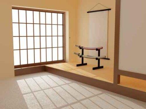 Украшение комнаты самурайскими мечами.