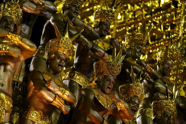 Revellers of Portela samba school perform during the carnival parade at the Sambadrome in Rio de Jan