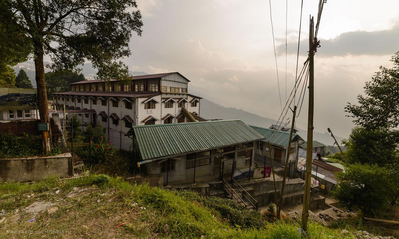 Фото 1. Так выглядит здание чайной фабрики Happy Valley Tea Estate в Дарджилинге. Отзывы туристов об экскурсиях во время самостоятельной поездки в Индию. Камера Nikon D610. Объектив Samyang 14/2.8. Параметры съемки: выдержка 1/250, экспокоррекция -1.67EV, диафрагма f/8.0, ИСО 100, фокусное расстояние 14 мм.