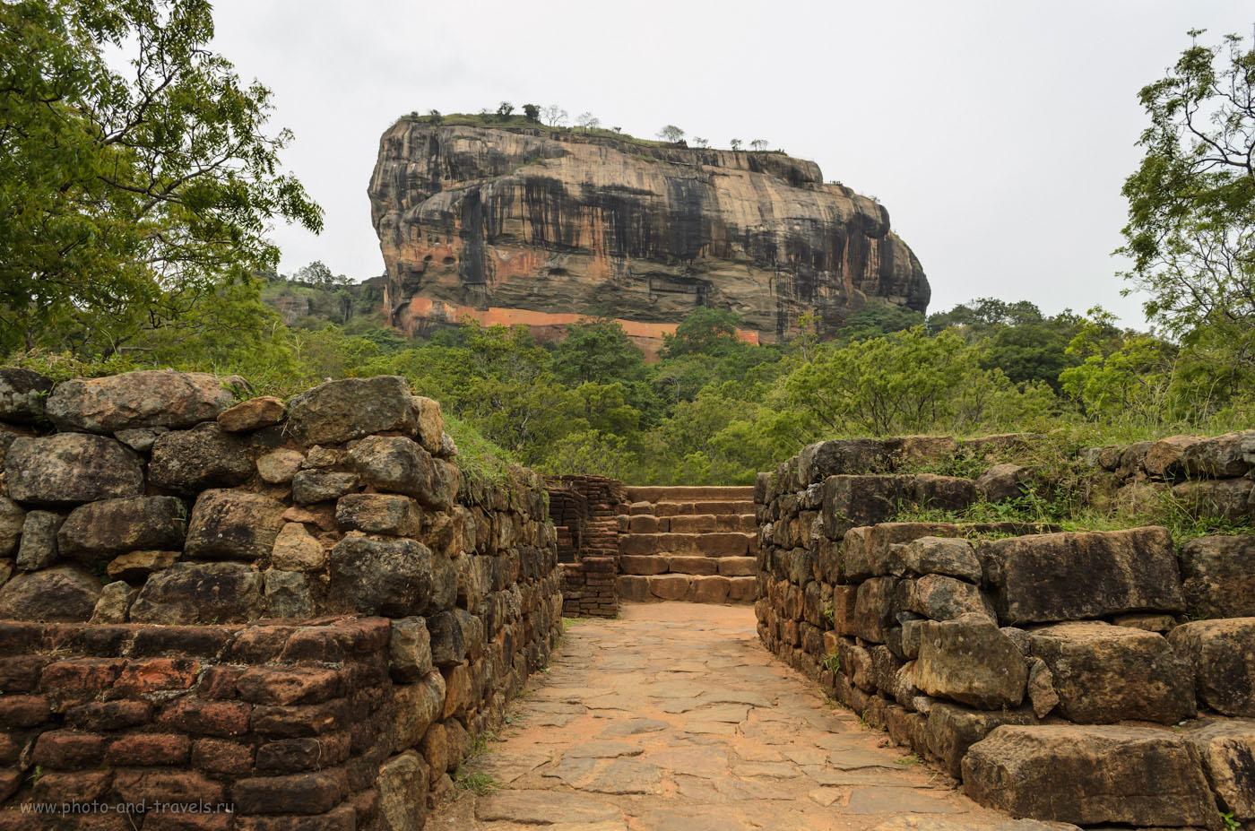 Фотография 6. Вид на скалу Сигирия (Sigiriya Citadel Rock), возвышающуюся на 100 метров над садами, каналами, водохранилищем и окрестными равнинами. Отзыв о поездке на экскурсию своим ходом. 1/500, 8.0, 400, 18.