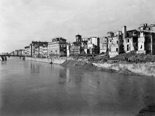 World War II: the rubble along the Arno River in Florence, after the bombing. This photograph, formerly part of the Brogi Collection, now belongs to the Alinari Collection