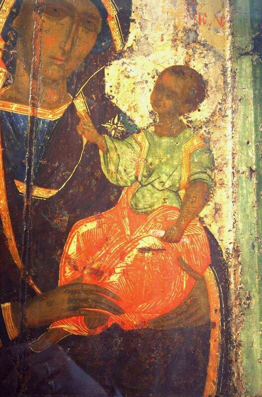 Богоматерь Одигитрия. Икона из Покровского монастыря в Суздале. 1360-е годы. ГТГ. Фрагмент.