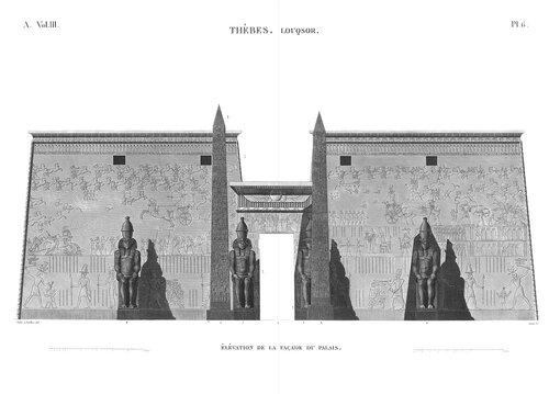 Храм Амона в Луксоре, верхний Нил, первый пилон, гравюра из Наполеоновского атласа