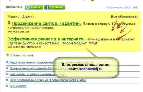 размещение рекламных блоков на сайте sosnovskij.ru