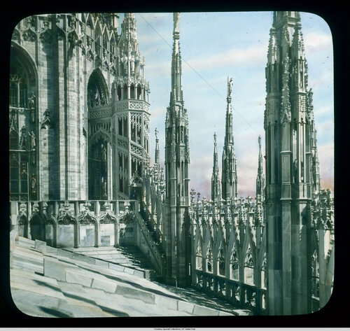 Milan. Cathedral (Duomo): roof detail, walkway and staircase