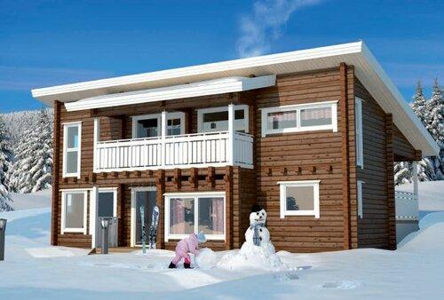 строительство дома из дерева зимой