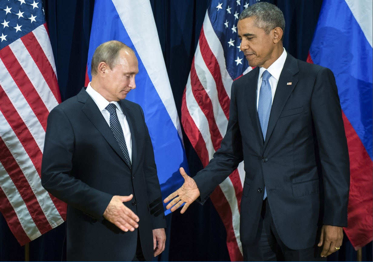 Vladimir Putin is indeed a scary guy to shake hands with.' Photograph_ Mikhail Klimentyev_AP 28/09/2015